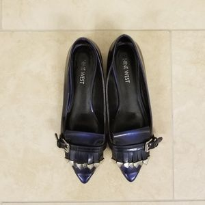 Nine West Blue Patent Loafers, Size 5